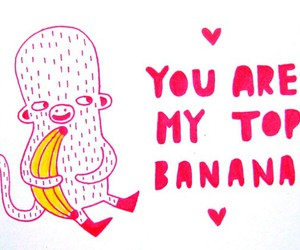 banana, monkey, and valentine image