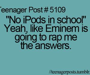 eminem, school, and ipod image