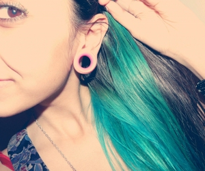 blue, blue hair, and body mods image