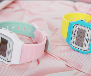 pink, retro, and watch image