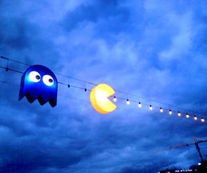 pacman, light, and Pac Man image