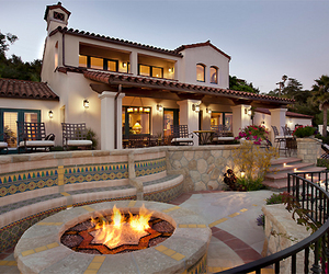 architecture, mansion, and bonfire image