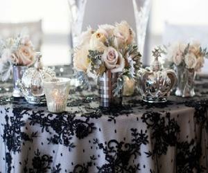 black and white, damask, and elegant image