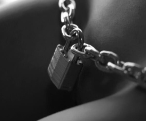 black and white, erotic, and lock image