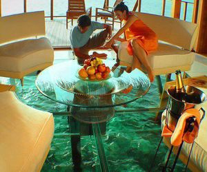 champagne, paradise, and couple image