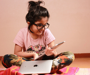 girl, apple, and ipad image
