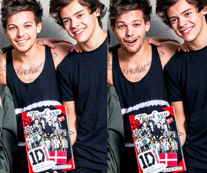 black, louis tomlinson, and Harry Styles image