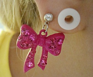 bow, earring, and girly image