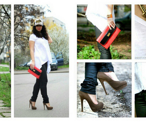 fashion blogger, nude heels, and style image