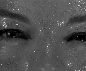 eyes, glitter, and black and white image