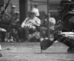 Action, baseball, and black and white image