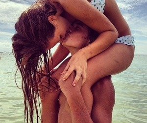 beach, fit, and kiss image