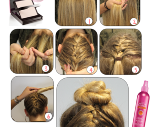 blond, braid, and bun image