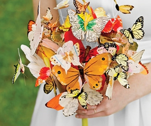 butterfly, bouquet, and wedding image