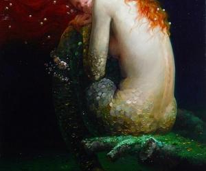 mermaid, art, and sea image