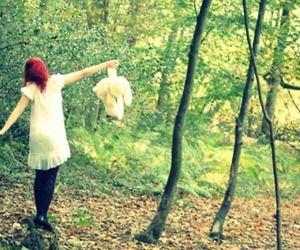 dress, forest, and girl image