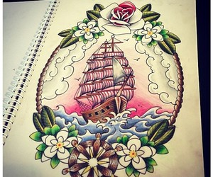 anchor, ship, and tattoo image