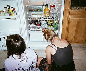 girl, friends, and fridge image