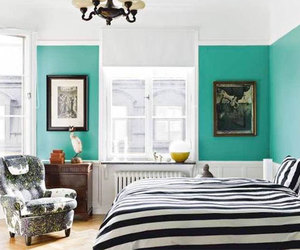 bedroom, black and white, and teal image