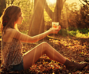 girl, butterfly, and sun image