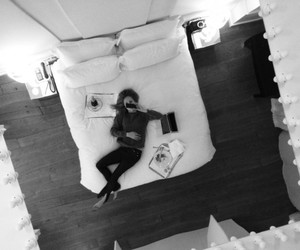 bed, black and white, and girl image
