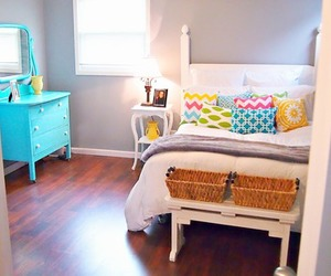 bedroom, colourful, and decor image