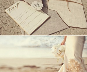 bride, groom, and sand image