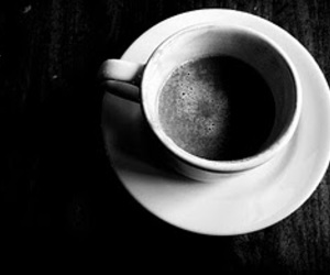 beverage, black and white, and coffee image