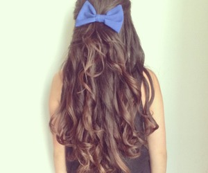 hair, bow, and girl image