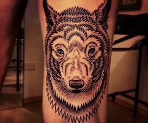 tattoo, wolf, and pontilhismo image