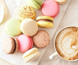 food, macaroons, and coffee image