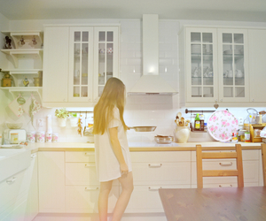 breakfast, kitchen, and long hair image