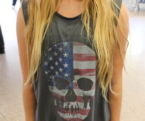 skull, blonde, and cool image