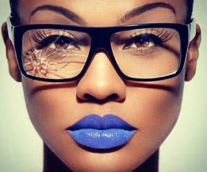 glasses, lips, and blue image