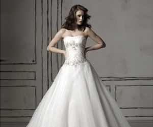 strapless, discount wedding dresses, and floor-length image