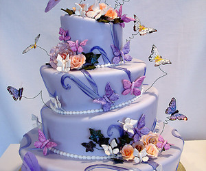 cake, butterfly, and purple image