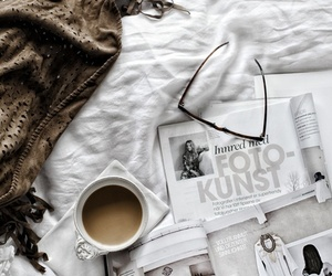 coffee, magazine, and bed image