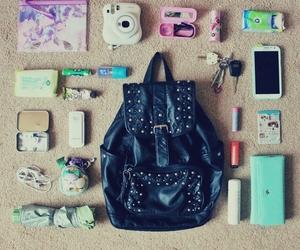 bag, keys, and phone image