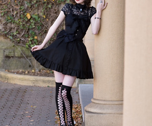 black, lace, and cute image