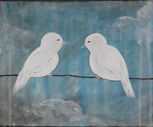 art, birds, and white image
