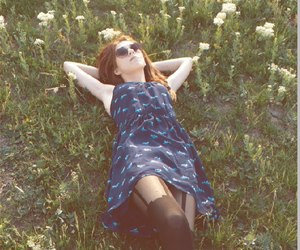 nature, skinny girl, and blue dress image