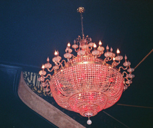 pink, chandelier, and photography image