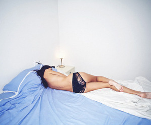 bed, underwear, and girl image