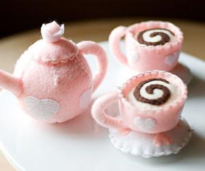felt, pink, and tea cups image