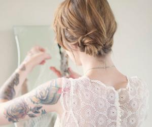 girl, tattoo, and white image