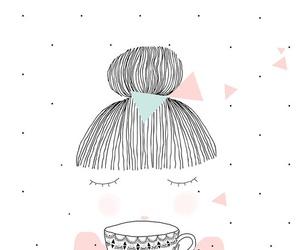 girl, tea, and drawing image