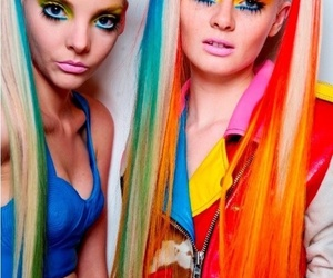 make up, weird, and colourful hair image