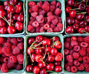 cherry, fruit, and red image