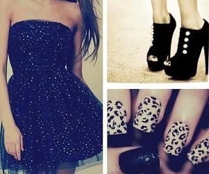 dress, nails, and black image