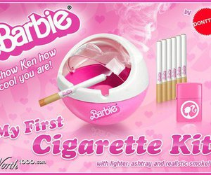 barbie, cigarette, and pink image